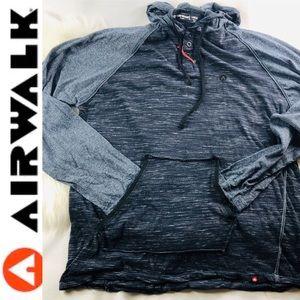Airwalk Henley pullover hoodie 3 button w pockets